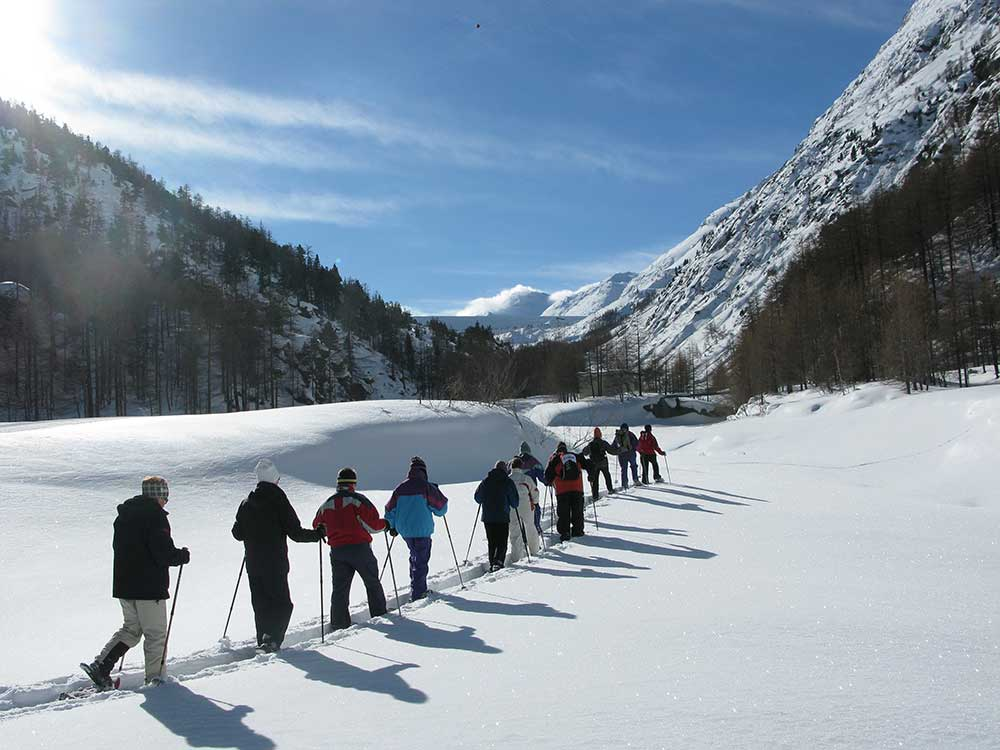 Snowshoeing trail in the Saas-Valley
